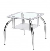 Metropolis White Glass Lamp Table