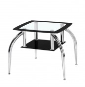 Metropolis Black Glass Lamp Table