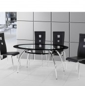 Metropolis Black Glass Dining Table and Chairs