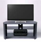 Minsk Small Black Glass and Black Gloss TV Unit