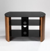 Minsk Small Black Glass and Zebra Gloss TV Unit