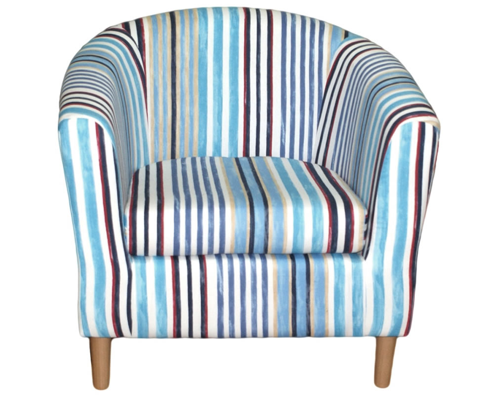 Holywell Striped Fabric Tub Chair Uk Delivery