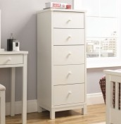 Atlanta White 5 Drawer Narrow Chest