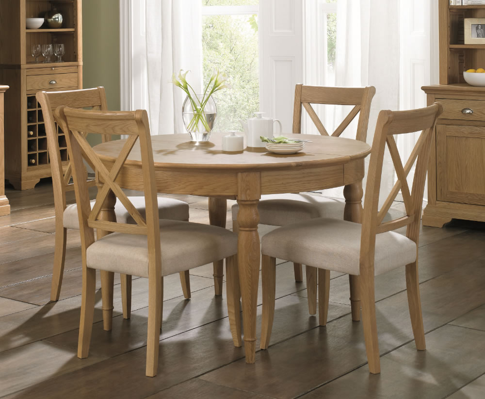 Hampstead Oak 120cm Extending Dining Table and Chairs - UK ...