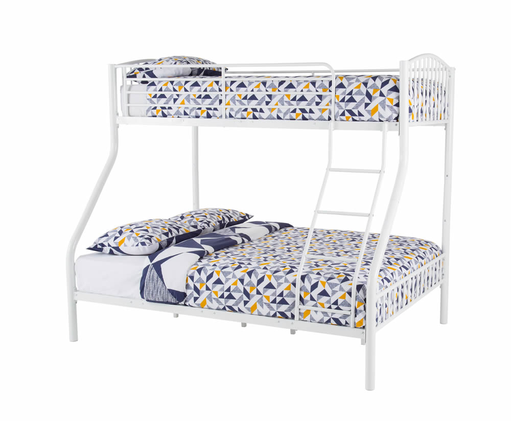 Oslo three sleeper white bunk bed single double sized beds for White metal bunk bed