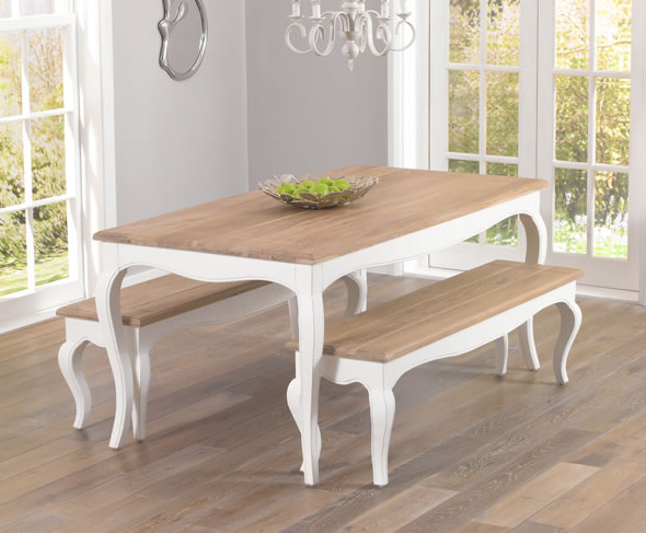 Tuscany Acacia and Ivory Dining Table and Chairs