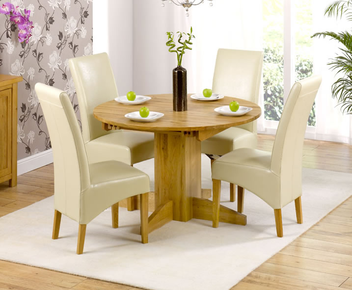 Tables Mariana Oak Round Extending Dining Set extending table + 4 chairs black chairs