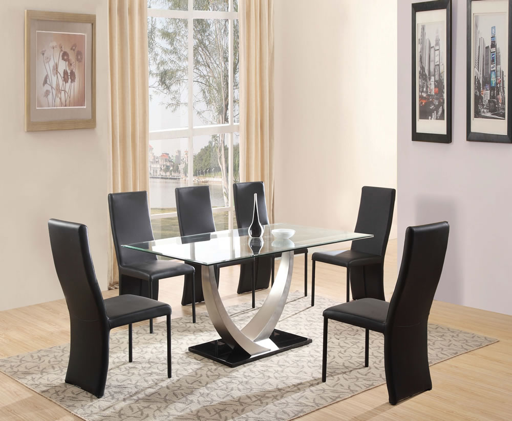 Piper glass dining table set for Dining room table for 6