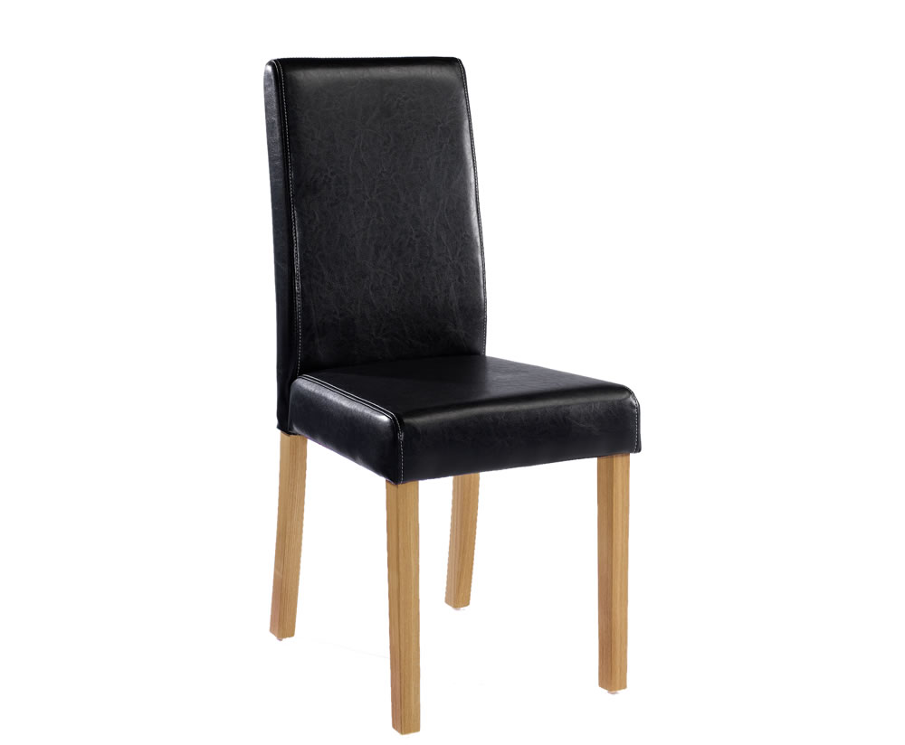 Chairs Foxton Black Faux Leather Dining Chairs black faux leather dining chairs (set of 2)