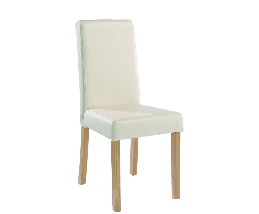 Foxton faux cream leather dining chairs set of 2 for Faux leather dining chairs
