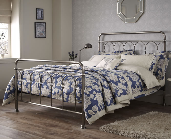 Shilton antique nickel metal bed frame