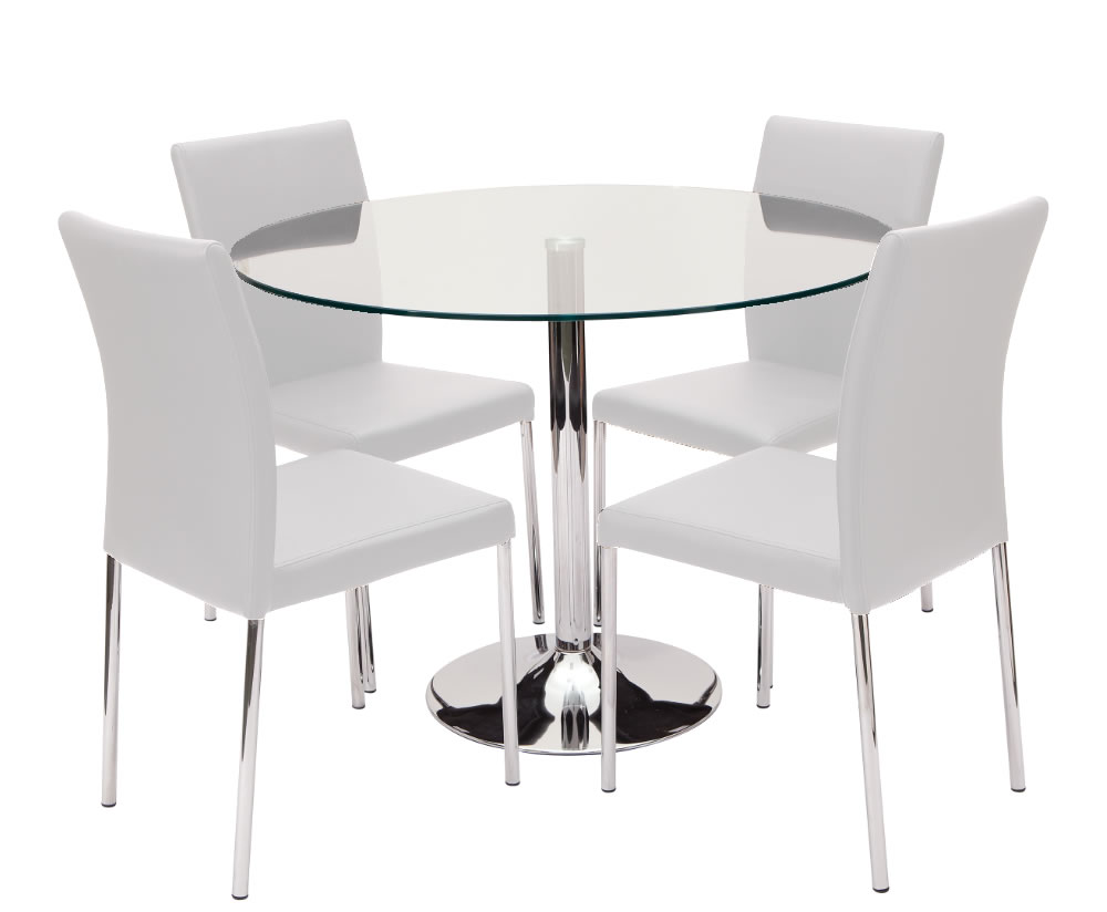 Jayden Clear Round Glass Kitchen Table And Chairs