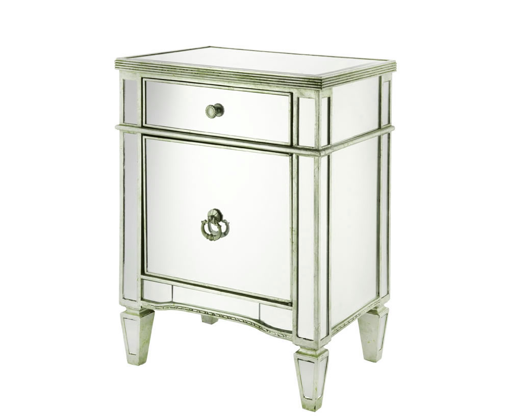 Annaba mirrored bedside cabinet for Mirror bedside cabinets