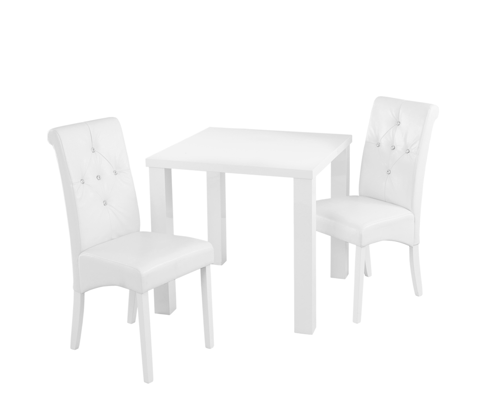 Monroe white high gloss small dining table and chairs for Small dinner table and chairs