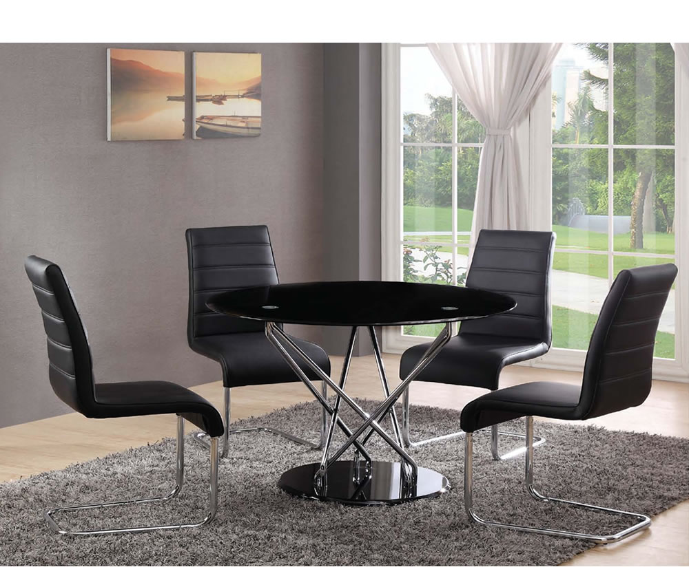 Dominique Black Glass Dining Table And Black Chairs