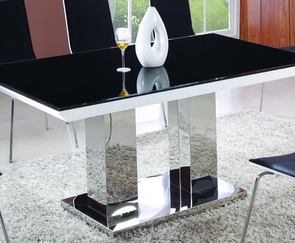 marlie black glass and white gloss dining set