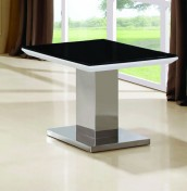 Marlie Black Glass and White Gloss Lamp Table