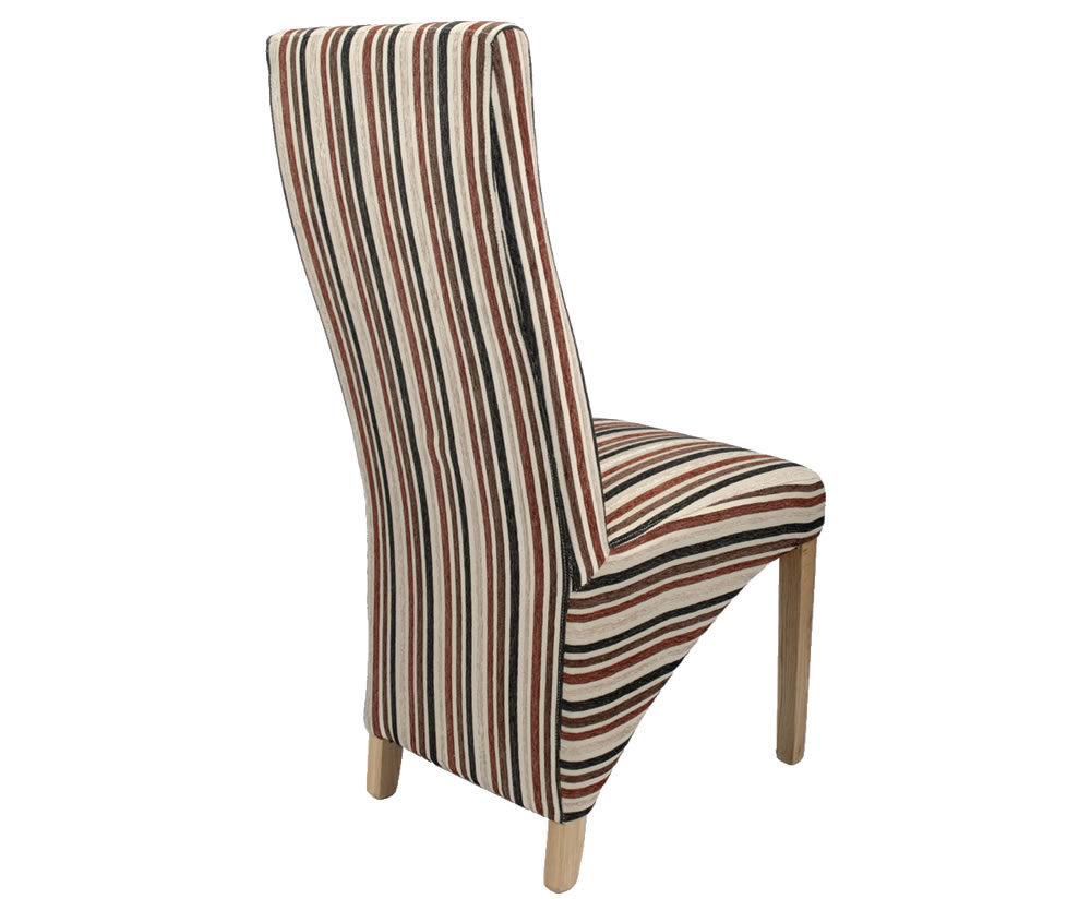 Tenterden Rustic Brown Striped Fabric Dining Chairs