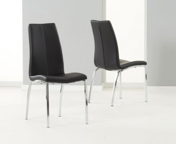 Flynn Black Faux Leather Dining Chairs
