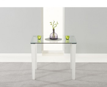Glamorgan Clear Glass and White Faux Leather Kitchen Table
