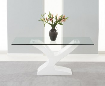 Portman White High Gloss and Glass Dining Table