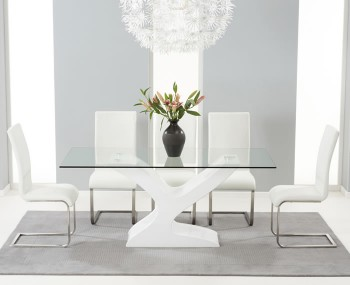 Portman White High Gloss and Glass Dining Table and Chairs