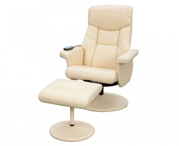Jerry Faux Leather Massage Swivel Chair and Foot Stool