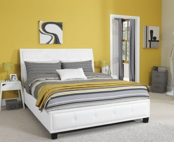 Cherish White Faux Leather Bed