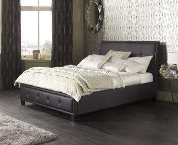 Cherish Black Faux Leather Bed