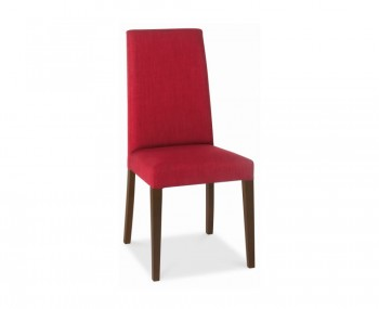 Miles Walnut And Red Upholstered Dining Chairs