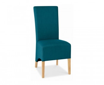Nina Oak and Teal Upholstered Dining Chairs