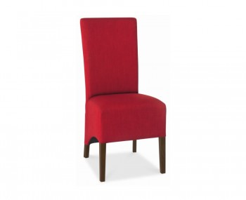 Nina Walnut and Red Upholstered Dining Chairs