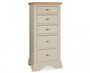 Hampstead Soft Grey and Oak 5 Drawer Tall Chest