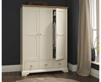 Hampstead Soft Grey and Oak 3 Door Wardrobe