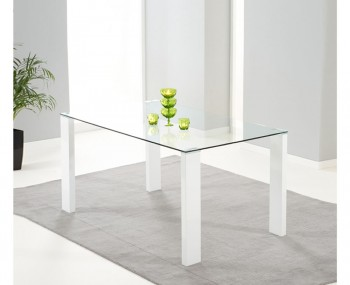 Lopez White Gloss and Clear Glass Dining Table