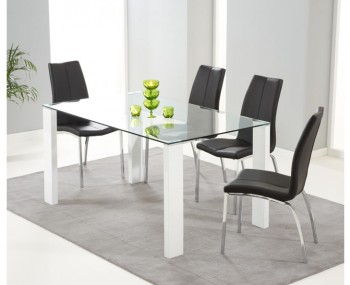 Lopez White Gloss and Clear Glass Dining Table and Chairs