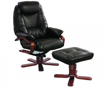 Senado Chocolate Bonded Leather Swivel Chair and Foot Stool