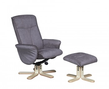Capaldi Mink Fabric Swivel Chair and Foot Stool