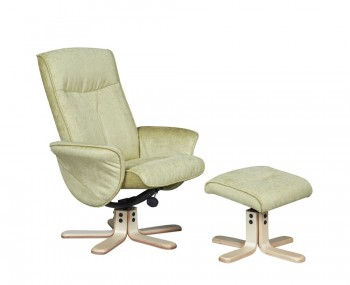 Capaldi Pistachio Fabric Swivel Chair and Foot Stool