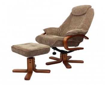 Caprice Mink Chenille Fabric Swivel Chair and Foot Stool