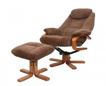 Caprice Chocolate Chenille Fabric Swivel Chair and Foot Stool