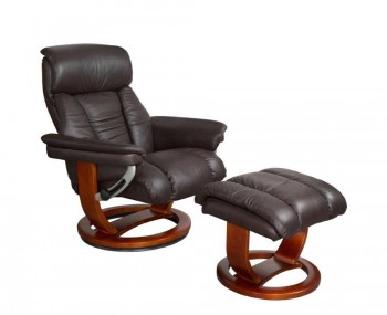 Veronica Chocolate Genuine Leather Swivel Chair and Foot Stool