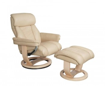 Veronica Cream Genuine Leather Swivel Chair and Foot Stool