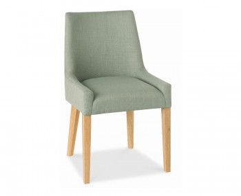 Ella Oak And Aqua Upholstered Dining Chairs
