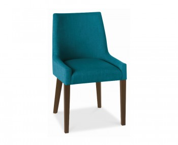 Ella Walnut And Teal Upholstered Dining Chairs