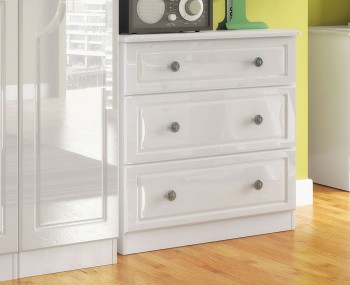 Abberley White Gloss 3 Drawer Deep Chest