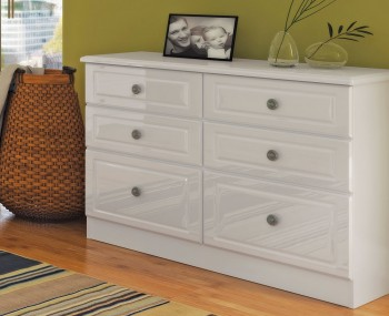 Abberley White Gloss 6 Drawer Midi Chest