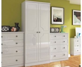 Abberley White Gloss 2 Door Standard Wardrobe