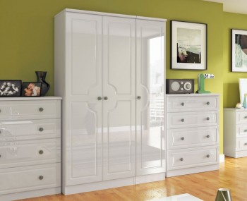 Abberley White Gloss 3 Door Standard Wardrobe