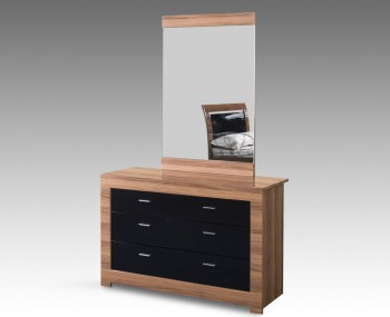 Beckinsale Walnut and Black Gloss 3 Drawer Dresser